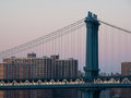 Manhattan bridge part of the in new york city Royalty Free Stock Photography
