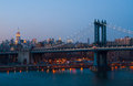 Manhattan bridge part of the in new york city Royalty Free Stock Photo