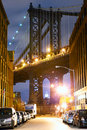 Manhattan Bridge Street view Stock Photos