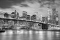 Manhattan and Brooklyn Bridge black and white, New York Royalty Free Stock Photo
