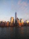 Manhattan evening view of at the from hudson river Stock Images