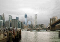 Manhattan from Fulton Ferry Landing, Brooklyn NYC  Royalty Free Stock Images