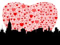Manhattan with hearts Stock Images