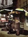 Manhattan hot dog cart Royalty Free Stock Images
