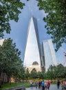 Manhattan island, New York City - One World Trade Center office building with view deck platform,platform, next to 911 memorial Royalty Free Stock Photo