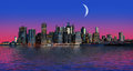 Manhattan at moon light Royalty Free Stock Photo