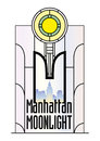 Manhattan moonlight a color illustration in art deco style a stained glass window with a view of the skyline Royalty Free Stock Photos