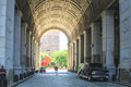 Manhattan municipal building new york city usa august tourists under the arch of the Stock Image