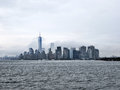 Manhattan new york city on a cloudy day skyline from the hudson river in ny Royalty Free Stock Photos