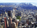 Manhattan, New York city from Empire State building, vintage style, New York City, USA Royalty Free Stock Images