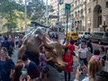 Manhattan, New York City, United states, Charging Bull of Wall Street on Bowling Green, bronze sculpture on Broadway, financial Royalty Free Stock Photo
