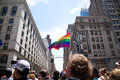 Manhattan, New York, June, 2017: rainbow flag over people waiting for The Gay Pride Parade Royalty Free Stock Photo
