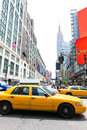 Manhattan new york new york city yellow cab us taxi downtown nyc Royalty Free Stock Photography