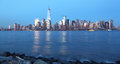 Manhattan night view from liberty state park to dowtown at everning Royalty Free Stock Photo