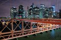 Manhattan night view to from the brooklyn bridge Royalty Free Stock Photo