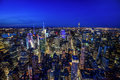 Manhattan skyline from above at dusk, New York City Royalty Free Stock Photo