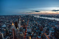 Manhattan skyline from above at the sundown, New York City Royalty Free Stock Photo