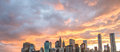 Manhattan skyline with beautiful sunset sky new york city Stock Photography