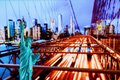 Manhattan Skyline, Brooklyn Bridge and The Statue of Liberty at Night Lights, New York City Royalty Free Stock Photo