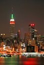 Manhattan Skyline at Christmas Eve Royalty Free Stock Images