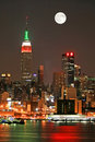 Manhattan Skyline at Christmas Eve Stock Images