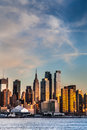 Manhattan skyline with empire state building Stock Photos