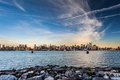 Manhattan skyline with empire state building over hudson river Royalty Free Stock Photo
