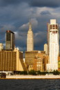 Manhattan Skyline with Empire State Building over Hudson River, NYC. Royalty Free Stock Photo