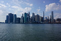 Manhattan skyline in new york scenic view of downtown of city viewed from sea u s a Stock Photos