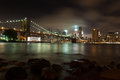 Manhattan skyline by night Stock Images