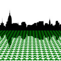 Manhattan skyline with shamrocks Stock Photo