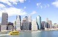 Manhattan in a sunny day new york skyline view from hudson river Stock Photo