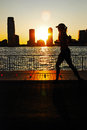 Manhattan Sunset Jogger Royalty Free Stock Photo