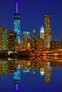 Manhattan sunset skyline New York NYC US Royalty Free Stock Photo