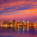 Manhattan sunset skyline New York NYC US Royalty Free Stock Photo