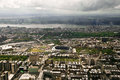 Manhattan view from a helicopter new york usa and yankee stadium Stock Images