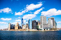 Manhattan view from staten island ferry south of the Royalty Free Stock Photo