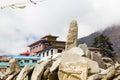 Mani stones Tengboche monastery, Nepal. Royalty Free Stock Photo