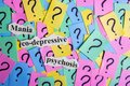 Mania co-depressive psychosis Syndrome text on colorful sticky notes Against the background of question marks Royalty Free Stock Photo