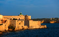 Maniace castle syracuse sicily italy the castello in the evening sun in Stock Photography