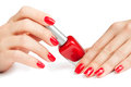 Manicure. applying nail polish. isolated Stock Images