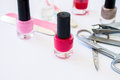 Manicure background with nail polishes and tools from a set Royalty Free Stock Photos