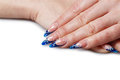 Manicure beautiful on female hand with long and thin fingers shot closeup Royalty Free Stock Images