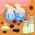 Manicure, hand care. Woman s manicured hands with bowl, bottles and flowers, vector illustration