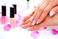 Manicure and hands spa beautiful woman closeup Royalty Free Stock Photos