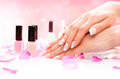 Manicure and hands spa beautiful woman closeup Stock Images