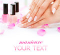 Manicure and hands spa beautiful woman closeup Royalty Free Stock Image