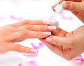 Manicure and hands spa cuticle oil woman closeup Royalty Free Stock Photos