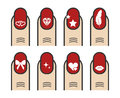 Manicure with nail art vector icons set
