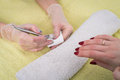 Manicure, painting on nail Royalty Free Stock Photo